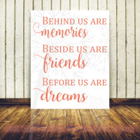 Memories, Friends, Dreams Vinyl Lettering Art Family Wall Sticker Decals Kitchen Home Decor-Coral
