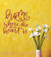 Home Is Where The Heart Is Vinyl Lettering Stickers Wall Decals Art Decor Quote-Red