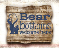 Bear Bottoms Welcome Here Vinyl Lettering Wall Art Decals Stickers Bathroom Camper-Deep Blue