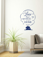 Love Makes House A Home Wall Vinyl Decals Sticker Quote Art-Deep Blue