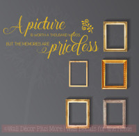 Picture Is Worth Thousand Words, Memories Priceless Family Wall Decals Vinyl Stickers Quote-Mustard