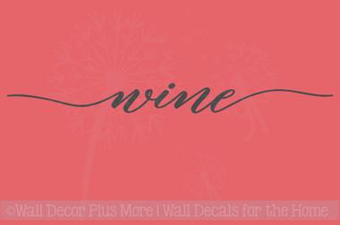 Wine Cursive Wall Sticker Decals Vinyl Lettering Art Kitchen Home Decor