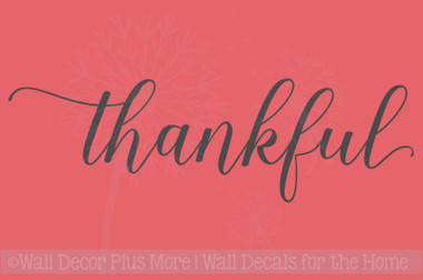 Thankful Cursive Vinyl Lettering Art Wall Stickers Decals for Kitchen Home Decor Quote