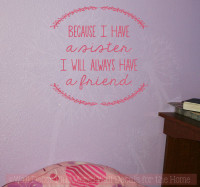 Sister Quotes Always A Friend Laurel Leaves Girls Vinyl Lettering Bedroom Wall Decal Stickers-Lipstick