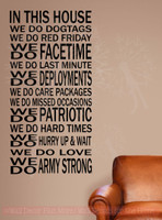 In This House We Do Dog Tags Army Strong Military Wall Decals Quotes-Black