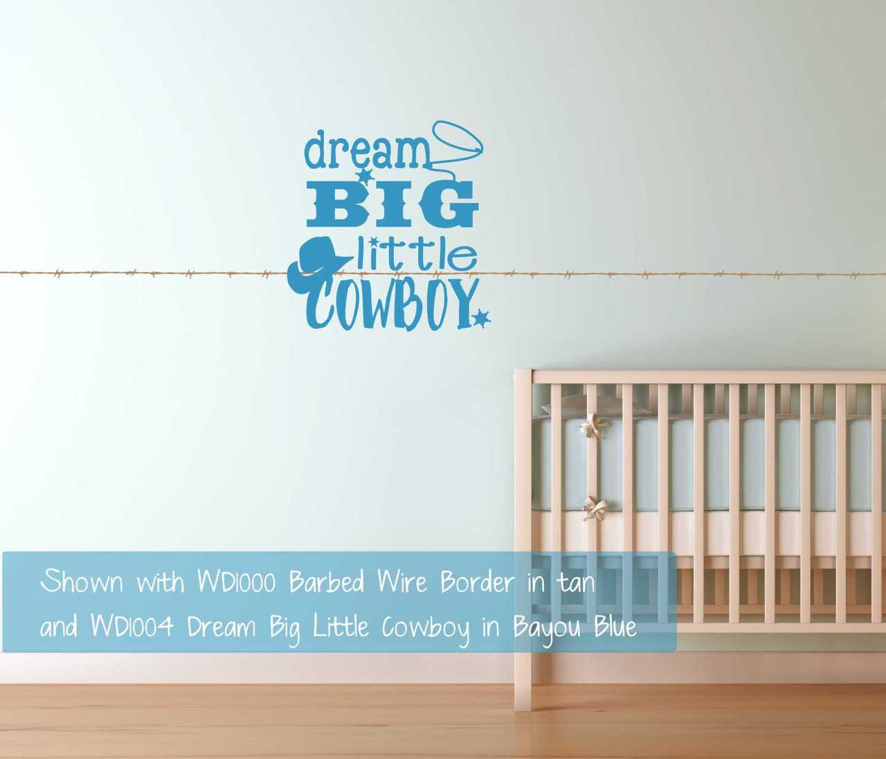 Dream big little cowboy western wall decals quotes boys room loading zoom amipublicfo Images