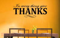 In Everything Give Thanks Vinyl Lettering Decals Fall Quotes Home Decor-Black