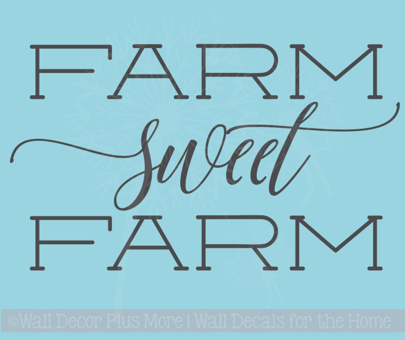 Farm Sweet Farm Vinyl Stickers Wall Decals Farmhouse Quotes. Loading Zoom