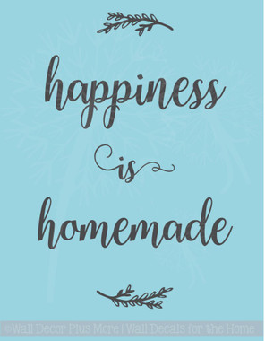 Happiness is Homemade Kitchen Wall Quotes Decals Stickers as Home Decor