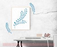 Laurel Leaf Branch Wall Decals Flower Vinyl Art Stickers for Modern Decor-Bayou Blue