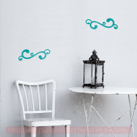Swirl Decals Vinyl Art Wall Stickers Living Room Home Wall Décor 2pc-Teal