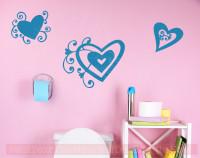 Heart Swirls Vinyl Art Decals Wall Stickers Girls Room Décor 3pc Set-Bayou Blue