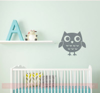 Owl Girls Vinyl Art Decals Bedroom Decor Nursery Wall Stickers-Storm Gray