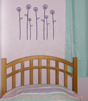 Doodle Roses and Stems Flower Wall Decals Girls Room Vinyl Art Stickers-Plum