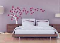 Tree Blowing with Flowers Large Tree Wall Decals Vinyl Art for the Home-Light Gray, Berry
