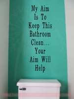 aim will help bathroom wall stickers vinyl lettering decals bath decorblack