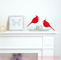 Cardinal Set of 2 Bird Wall Decals Vinyl Art Christmas Home Decor-Cherry Red