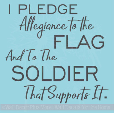 Pledge Allegiance Military Vinyl Letters Decals Wall Sticker Quote