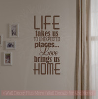 Love Brings Us Home Family Wall Decals Vinyl Lettering Art Wall Décor Quotes-Chocolate Brown