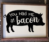 You Had Me At Bacon Farmhouse Kitchen Wall Decals Vinyl Art Letters-Black