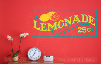 Lemonade 25cents Vinyl Lettering Farmhouse Kitchen Wall Decor Stickers-Teal, Yellow