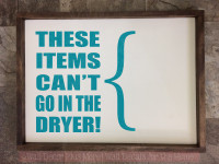 These Items Can't Go in Dryer Laundry Room Best Vinyl Stickers Decals-Teal