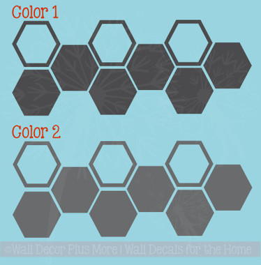 Honeycomb Hexagon Wall Sticker Shapes 2-Color Vinyl Decals Decor Art