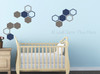Honeycomb Hexagon Wall Sticker Shapes 2-Color Vinyl Decals Decor Art-Castle Gray, Deep Blue