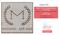 Stencil Sticker Decals for 12x12 for Board Wood Signs, 1 Personalized Design-Option 1