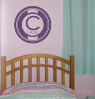 Circle Monogram with Kids Name Personalized Vinyl Lettering Wall Decals-Plum