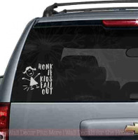 Honk If Kids Fall Out Car Window Art Stickers Vinyl Lettering Decals-Middle Gray