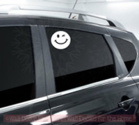 Smiley Wink Face Vehicle Stickers Vinyl Art Inspiring Car Window Decals-White