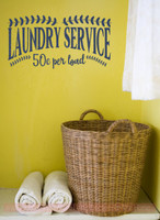 Laundry Service 50cents Vinyl Lettering Decals Laundry Wall Decor-Deep Blue