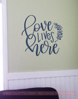 Love Lives Here With Leaf Art Vinyl Letters Decals Wall Sticker Quote Deep  Blue
