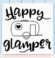 Happy Glamper Vintage Camper Art Vinyl Decals RV Wall Decor Camping Quotes Black