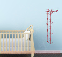 Helicopter Growth Chart Boys Room Wall Decor Stickers Vinyl Art Decals-Red