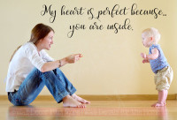 Perfect Heart Because You Inside Love Vinyl Letters Wall Stickers Quote-Black