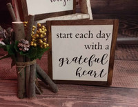 Start Each Day Framed Wood Sign with Quote, Hanging Wall Art Black