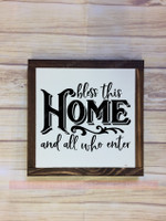 Bless This Home Framed Wood Sign with Vinyl Sticker Quote Wall Art, Black