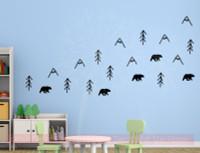 Woodland Bears Trees Mountains Nursery Animal Prints Vinyl Art Decals Black