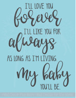 I'll Love You Forever Vinyl Lettering Decals Nursery Wall Decor Quote