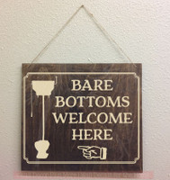 Bare Bottoms Welcome Here Bathroom Vinyl Stickers RV Wall Decals Quote-Beige