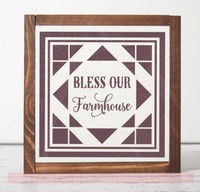 Bless Our Farmhouse Vinyl Sticker Wall Art Decals with Quilt Pattern-Eggplant