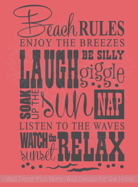 Beach Rules Subway Art Phrases And Quote Wall Sticker