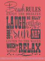 Beach Rules Subway Art Wall Decal Quote Phrase Saying Vinyl Decal