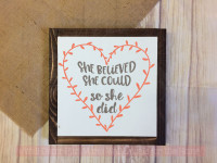 She Believed She Could Laurel Heart Inspirational Gift Vinyl Wall Decals-Castle Gray, Coral