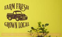 Farm Fresh Grown Local Vintage Pickup Wall Art Stickers Vinyl Decals-Chocolate Brown