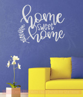 Home Sweet Home Laurel Leaf Handwriting Vinyl Letters Kitchen Wall Stickers-Light Gray