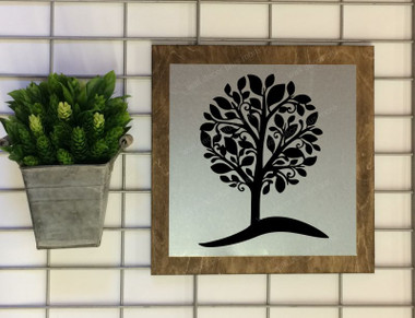 Metal on Wood Tree on a Hill Wood Sign Metal with Quote, Hanging Wall Art, 3 Sign Choices-Black