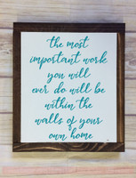 Most Important Work Vinyl Lettering Decals Wall Stickers for Home Decor-Teal